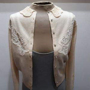 Vintage 1950's Cashmere Cardi w Lace & Pearls